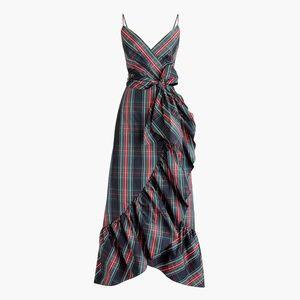 Spaghetti-strap ruffle maxi dress- Stewart tartan
